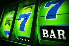 Green Blue Slot Machine 3D Stock Image