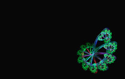 Green blue spiral fractal black Stock Photos