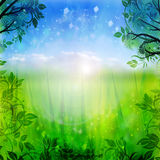 Green and blue spring background Royalty Free Stock Photo