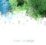 Green and blue stained bright banner with sketched flowers Royalty Free Stock Image