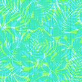 Green and blue striped tropical leaves seamless pattern Royalty Free Stock Images