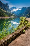 Green and blue sunrise at Gosausee lake in Gosau, Austria. Europe Stock Photography