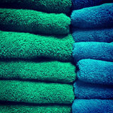 Green and blue towels Stock Photo