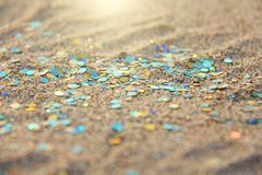 Green, blue or turquoise Soft Blurred Boke Background. Spangles and Shiny Silver Color Background. Bright Background. Glamorous. Background for your design and stock photos