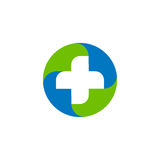 Green and blue vector medical cross logo. Round shape logotype.  Royalty Free Stock Photo