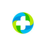 Green and blue vector medical cross logo. Round shape logotype  Stock Image