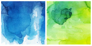 Green blue watercolor background. Set of blue an green watercolor texture Royalty Free Stock Photos