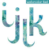Green-blue watercolor font I,J,K,L Royalty Free Stock Image