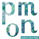 Green-blue watercolor font M,N,O,P Stock Images