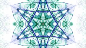 Green and blue watercolor symmetric star patterns in divergent and convergent tunnel motion, fractal on white background vector illustration