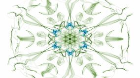 Green and blue watercolor symmetric star patterns with rotating area, fractal on white background stock illustration
