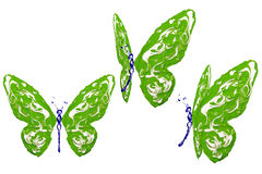 Green, blue and white paint made butterfly set Royalty Free Stock Photo
