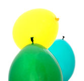 Green, blue, yellow balloons Stock Images