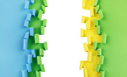 Green blue yellow torn paper background Stock Photography