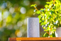 Green blur background and smart speakers.  stock images