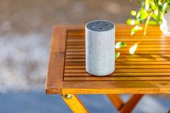 Green blur background and smart speakers.  stock photos