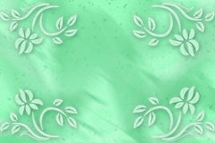 Green blurred background with flowers in corners stock photography