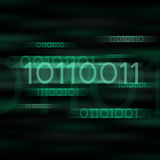 Green blurred binary code Stock Images