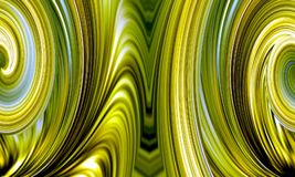 Green blurred wavy striped background. Beautiful design. Abstract illustration, wallpaper for Web site. Curve spirals on a image. Fuzzy effect. Green, yellow stock illustration