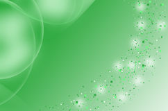 Green_blurry particle_ background. Green background with glowing dispersion effect.and also shading circles on top left corner Stock Image