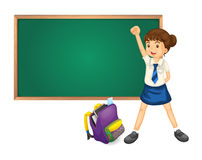 Green board, bag and student. Illustration of green board bag and student on white Royalty Free Stock Images