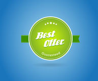 Green board with best offer sign. Royalty Free Stock Photography