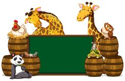 Green board with giraffes and other animals Stock Photos