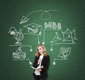 Green board MBA sketch and lady. Smiling girl with red hair standing near green blackboard with MBA sketch. Concept of business education royalty free stock images