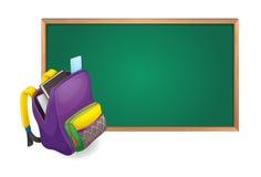 Green board and school bag. Illustration of green board and school bag Stock Photography