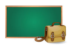 Green board and school bag Royalty Free Stock Photography