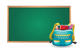 Green board and school bag Stock Image
