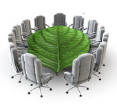 The green boardroom. 3D render of boardroom with leaf as table Royalty Free Stock Photo