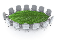 The green boardroom. 3D render of boardroom with leaf as table Royalty Free Stock Photos