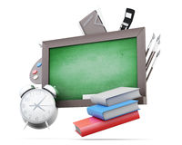 Green boards and school supplies isolated on a white background. 3d render image Royalty Free Stock Photo