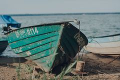 Boat on the beach stock photography