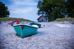Green boat at beach Royalty Free Stock Photography