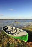 Green Boat - Lough Derravaragh Stock Image