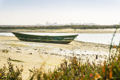 Old boat in Ria Formosa Natural Park in Faro, Algarve, Portugal. Green boat during low tide in Ria Formosa with buildings of Faro Beach as background, Portugal Royalty Free Stock Image