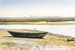 Old boat in Ria Formosa Natural Park in Faro, Algarve, Portugal. Green boat during low tide in Ria Formosa with buildings of Faro Beach as background, Portugal Stock Images
