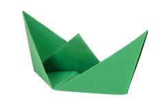 Green boat made of paper Stock Photos