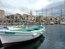 Green boat at Sanary-sur-mer, France royalty free stock photos