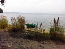 The green boat on the sandy coast of the lake. Among cane thickets Stock Photo