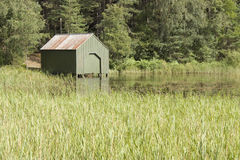 Green boathouse Royalty Free Stock Photography