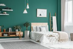 Green boho bedroom interior. Bed between ladder and plant in green boho bedroom interior with grey carpet under lamps royalty free stock image