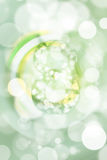 Green bokeh number background, blured.  Stock Photo