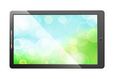 Green bokeh screen in tablet pc Royalty Free Stock Image