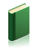 Green book. With reflection. Vector illustration Royalty Free Stock Photo