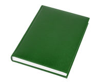 Green Book. Green leather covered book isolated over white background Stock Image