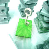 Green book with metallic key with another books Stock Photo
