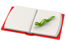 Green bookworm on open book page 3d. Green bookworm on blank white page of open book in red covers 3d Royalty Free Stock Image